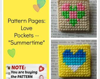 "Plastic Canvas Pattern Pages: ""Love Pockets -- Summertime"" (2 designs, graphs and photos, no written instructions) ***PATTERN ONLY!***"