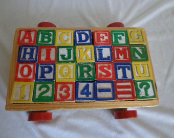 Sweet Vintage Wagon Full of Wooden Alphabet & Number Blocks