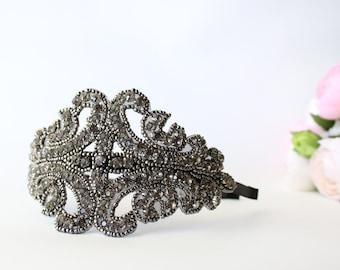 Art Deco 1920s Rhinestone Headband - Vintage - Rhinestone Headband - Hairband - Gray - Beaded - Bridal - Wedding