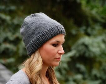 Hand knit womens beanie hat, slouchy beanie, slouch hat, knit beanie hat for women