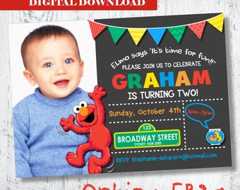 Elmo Photo Invitation. Elmo Birthday Invitation. Boys Elmo Printable Invitation. Boys Photo Invitation. Sesame Street Invitation. Basketball