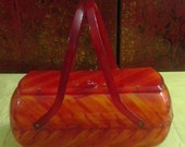 1950's Elongated Box Purse in Tortoise Shell Patern With Reddish Hues Lucite by Bags by Bishop