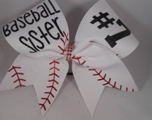 Cheer Bow Baseball Sister CUSTOM (your #)  on Double layer White grosgrain by BlingItOnCheerBowz