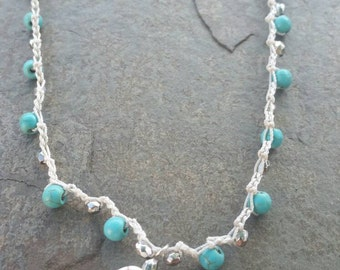 Pretty Howlite Crochet Choker Necklace
