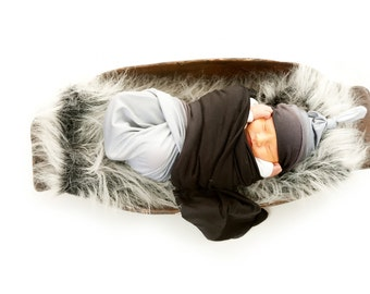 Swaddle Blanket Set, Top Knot Beanie + Black and Gray Ombré Baby Blanket, Baby Shower Gift, Newborn Gift, Modern Baby Gift