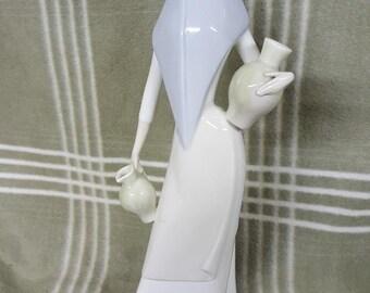 "Gorgeous Vintage Porceval Spain 15"" Figurine-Woman Holding Water Jug & Pitcher"