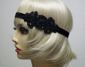 Black flapper headband, 1920s headpiece, Art Deco headband, Gatsby headband, Gatsby prom, 1920s costume, roaring 20s,