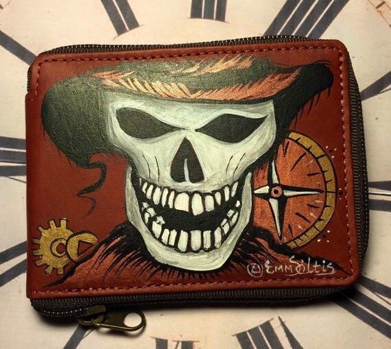 men leather wallet - Skull wallet hand painted