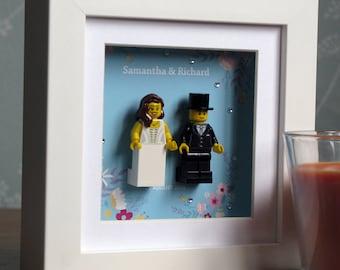 0020LW Mini Bride & Groom LEGO® Wedding customisable Wall Art Frame