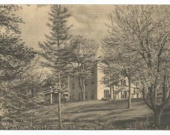 Auburndale, Massachusetts Lasell Junior College Bragdon Hall Linen Era Old Postcard (Postmarked July 3, 1941)