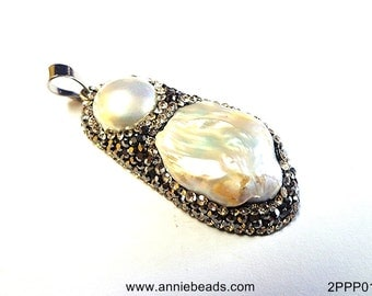 Natural Fresh Water Pearl with Pave Crystal Pendant
