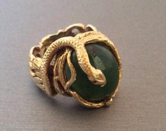 Vintage Art Nouveau Jade Snake Ring