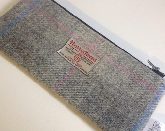 Harris tweed grey pink and blue pencil case zip pouch pencil pouch back to school!