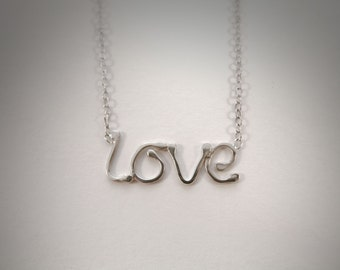 "Sterling Silver ""Love"" Necklace - Handmade Necklace - Word Necklace - Gift For Her"