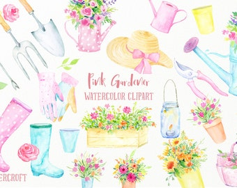 Watercolor clip Art Pink Gardener - pink theme garden tools, wellington boots, watering cans, gloves, flower pots for instant download