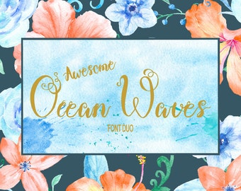 Font Duo Ocean Waves, monograms, curly font, swirly font, wedding font for instant download