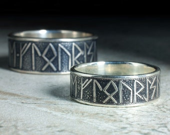 matching silver rune rings with custom message unique viking wedding rings his and hers - Norse Wedding Rings
