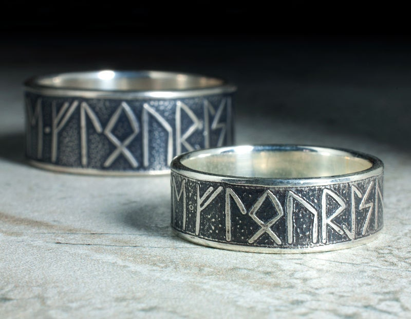matching silver rune rings with custom message unique viking wedding rings his and hers - Viking Wedding Rings