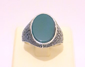 925 Sterling Silver Men's Ring Ellipse Jade Stone With Specially Designed