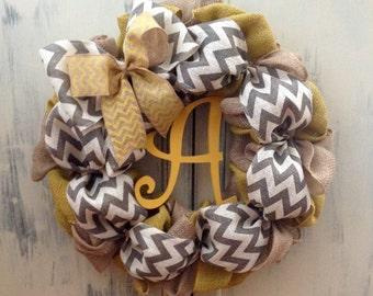 Chevron Wreath, Burlap Wreath, Initial Wreath, Spring Wreath, Fall Wreath, Everyday Wreath, Personalized Door Wreath