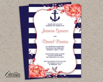 Printable Nautical Wedding Reception Only Invitation | Navy Blue And White Stripe Reception Invitations With Coral Peonies | Striped Invites