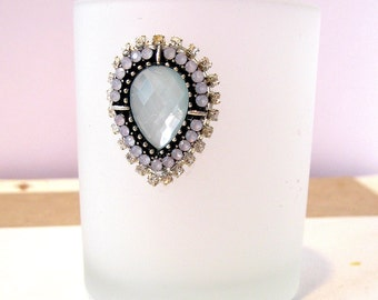 5 White Votive Holders mint opal jeweled Votive Candle Holder  frosted white & mint seafoam opal black Wedding reception Party wedding decor