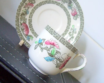 Vintage Johnson Brothers Indian Tree Coffee Cup and Saucer Demi Tasse