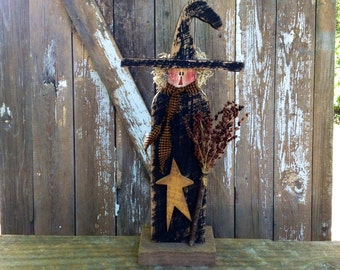 Primitive, Primitive Witch, Primitive fall decor, Country Primitive, Primitive country decor, primitive halloween decor, OFG Team, Witch