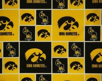 "Iowa Hawkeyes Football Checkered Sheeting Fabric Cotton 4 Oz 44-45"""