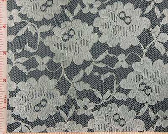 """Cream Beige Big Rose Flower Lace Fabric Polyester 58-60"""""""