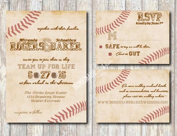 Baseball Wedding Invitation: The Vintage Baseball Collection Set By HomemadeWithLoveWed