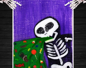 8x10 gothic folk art print - Too Much Candy Andy - Halloween art painting print, skeleton, skull, vomit, barf, throw up, candy, colorful