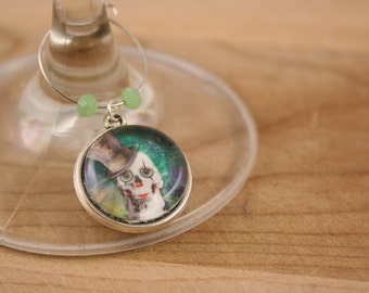 Party - wine Glass Markers, Steampunk funny skulls, set of 6 - glass cabochon pictures - made in Quebec - handmade by Créations GEBO -