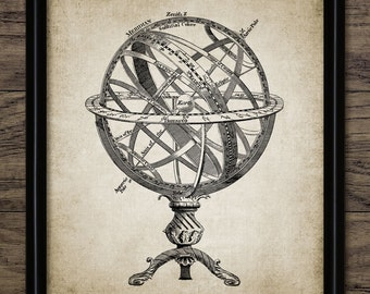 Armillary Sphere Print - Celestial Longitude - Spherical Astrolabe - Armilla - Armil - Single Print #409 - INSTANT DOWNLOAD