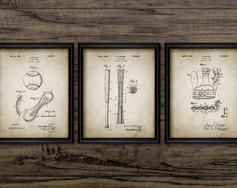 Baseball Patent Print Set Of 3 - Baseball Glove - Bat - Baseball Design - Baseball Sport - Set Of Three Prints #450 - INSTANT DOWNLOAD