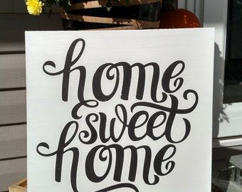 Home Sweet Home Wood Sign | Wood Sign Sayings | Home Decor | Hand Painted | Distressed | Home