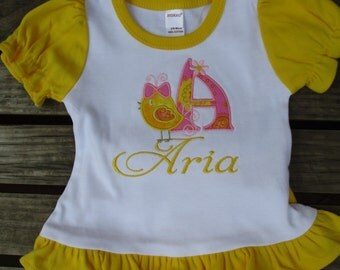 Baby Girl Set with Appliqued Bird