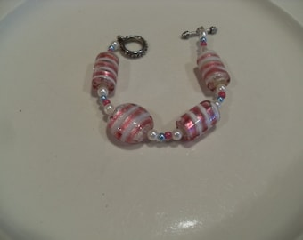 Pink Art glass bracelet, vintage large statement beads, Boho, Hipster, unique and beautiful bracelet, Gingerslittlegems