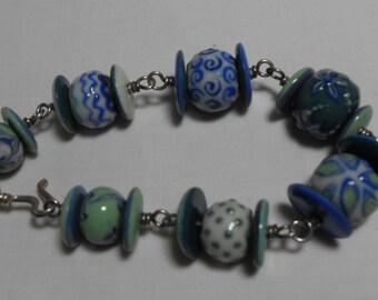 Sterling Blue Ceramic Bead bracelet, Vintage Sterling wire wrapped Blue and Green Ceramic bead bracelet, Boho gift for her GIngerslittlegems