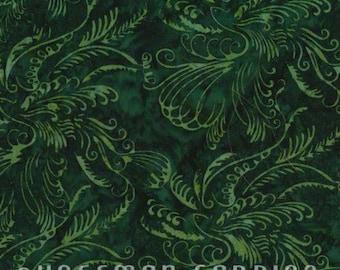 Scrolly Bird Christmas Green (2904-189) by Hoffman California Fabrics Cotton Batik Fabric Yardage