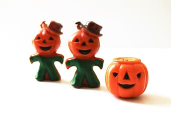 Vintage Gurley Halloween candles, jack-o-lantern and pumpkin scarecrows (2), holiday décor, Halloween, collectible candles