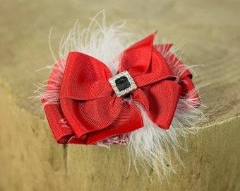 Santa Belt Hair Bow, Santa Belt Bow