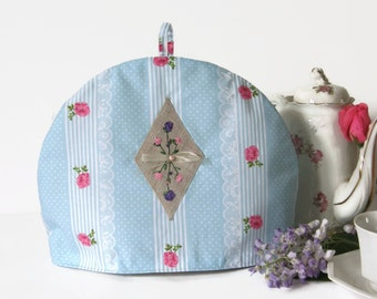 Fabric Tea Cosy- Teapot Cozy- Linen Tea Cozy- Pink and Grey Tea Cosy