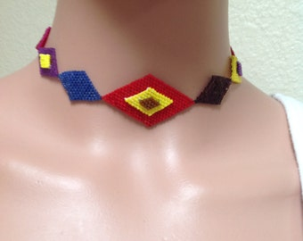 """SALE! One-Of-A-Kind! Multi Colored Choker Necklace Handmade 13 1/4"""""""