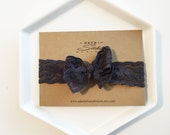Headband - Dark Gray Stretch Lace Handtied Bow Headband