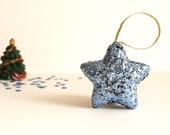 Blue Star Handmade Sequin Christmas Tree Decoration