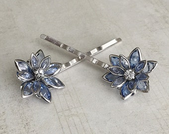 Blue Hair Pins, Light Blue Bobby Pins, Blue Hair Clips, Blue Flower Bobby Pins, Blue Hair Barrettes, Flower Hair Pins