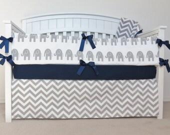 FREE SHIPPING - 4 Piece Crib Set - Elephant and chevron crib set