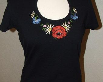 Women T- Shirt, Black T-Shirt, Muhu Embroidery in T-Shirt