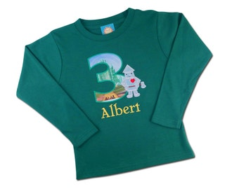 Tin Man Green Shirt - The Wonderful Wizard of Oz Tin Man Boy's Shirt with Number and Embroidered Name